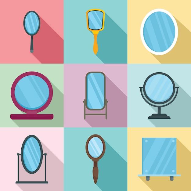 Conjunto de ícones de espelho Vetor Premium