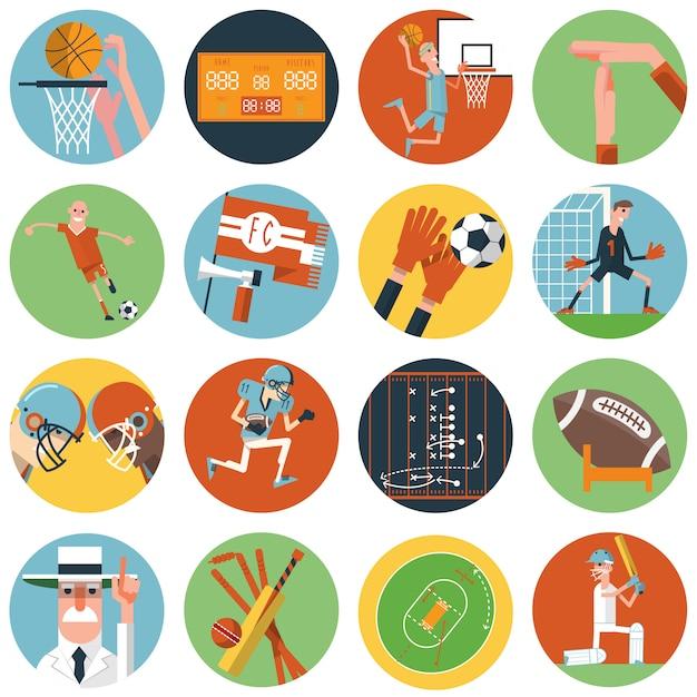 Conjunto de ícones de esporte de equipe plana Vetor Premium