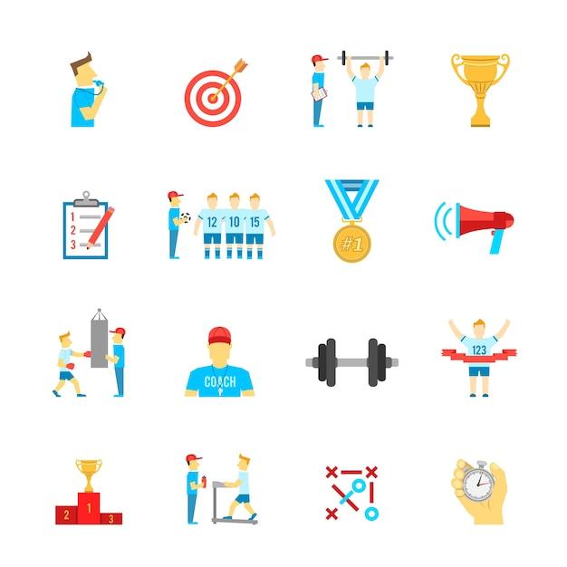 Conjunto de ícones de esporte de treinamento Vetor grátis