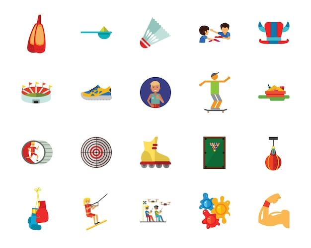 Conjunto de ícones de esportes e hobbies Vetor Premium