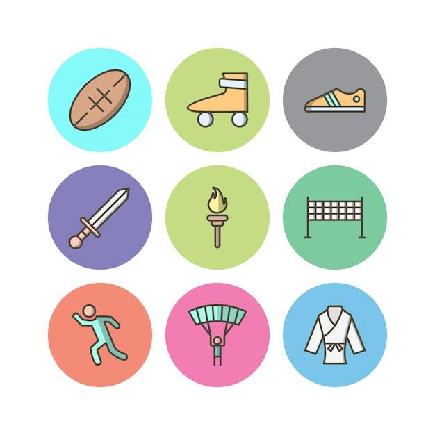 Conjunto de ícones de esportes e jogos para uso pessoal e comercial Vetor Premium