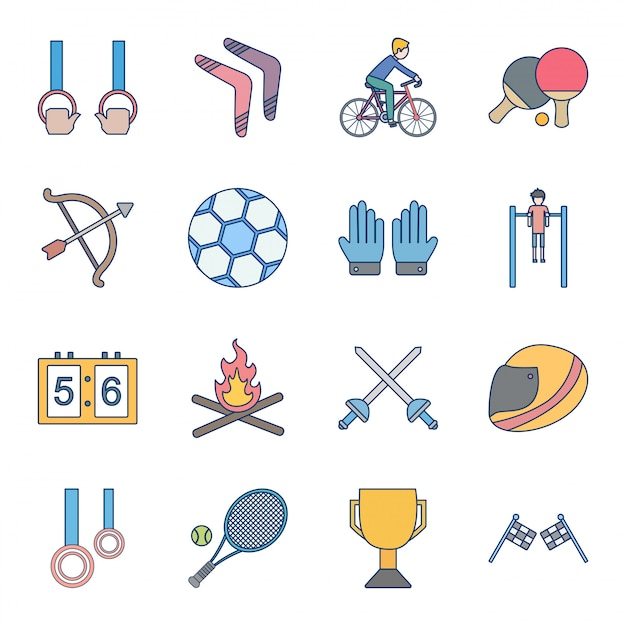 Conjunto de ícones de esportes e jogos Vetor Premium