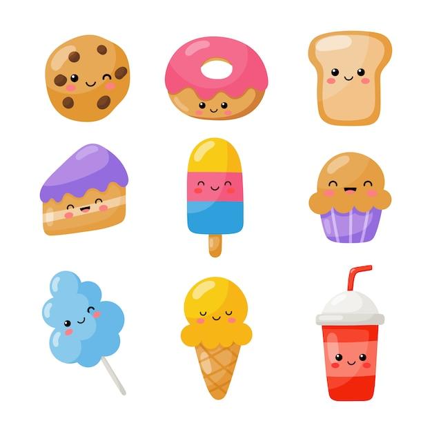 Conjunto de ícones de estilo bonito engraçado fast-food kawaii isolado no branco. Vetor Premium
