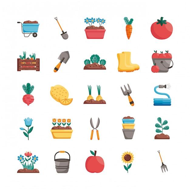 Conjunto de ícones de estilo de detalhe de jardinagem Vetor Premium