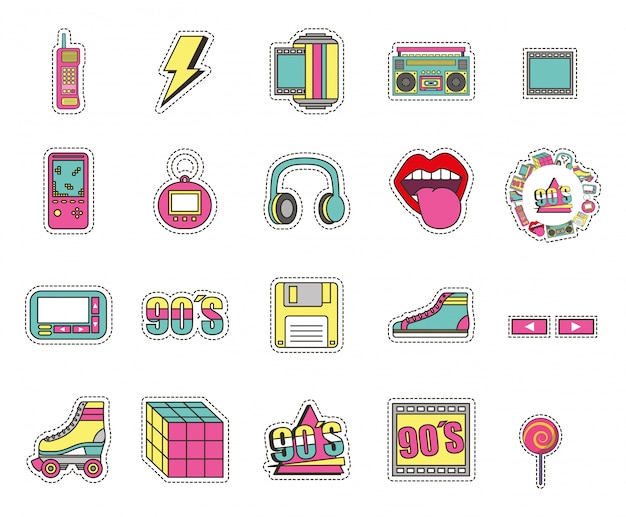 Conjunto de ícones de estilo de moda isolado Vetor grátis