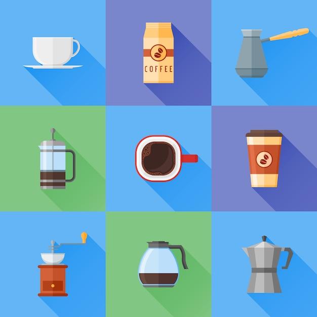 Conjunto de ícones de estilo plano café com sombra longa. Vetor Premium