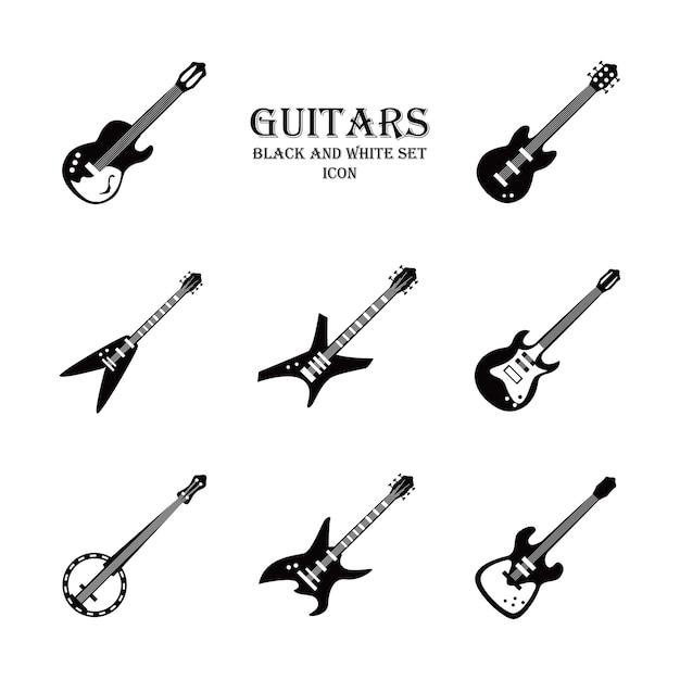Conjunto de ícones de estilo preto e branco de instrumentos de guitarra Vetor Premium