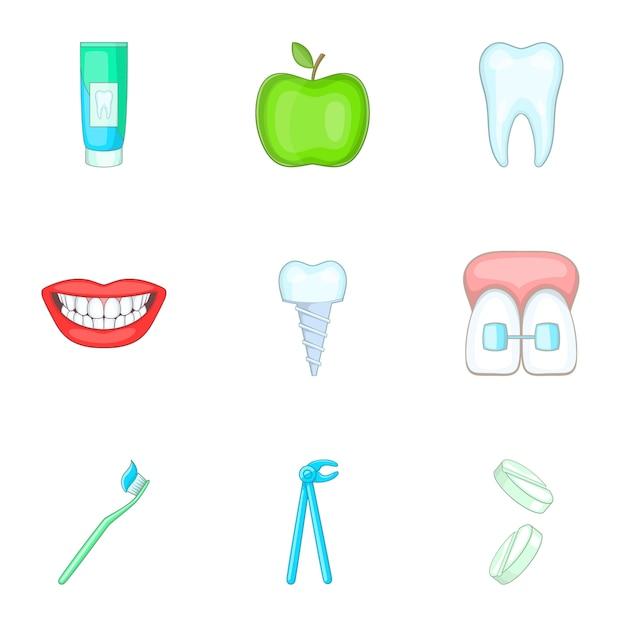 Conjunto de ícones de estomatologia, estilo cartoon Vetor Premium