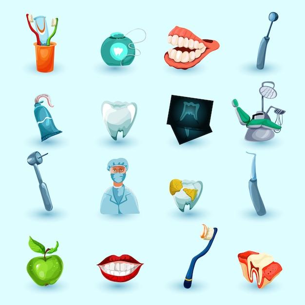 Conjunto de ícones de estomatologia Vetor grátis