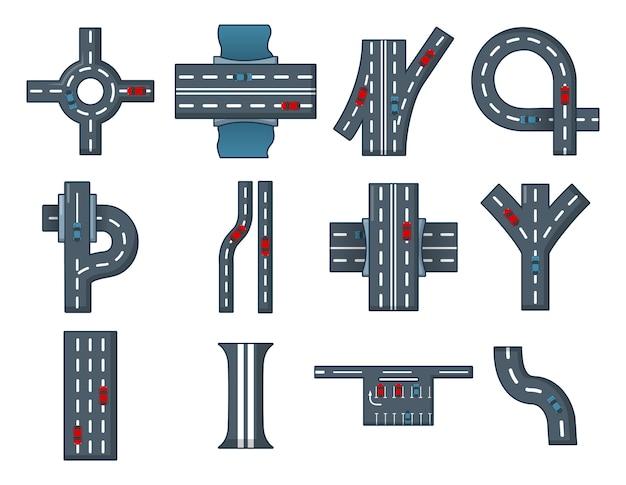 Conjunto de ícones de estrada da cidade. conjunto de desenhos animados de ícones de vetor de estrada cidade conjunto isolado Vetor Premium
