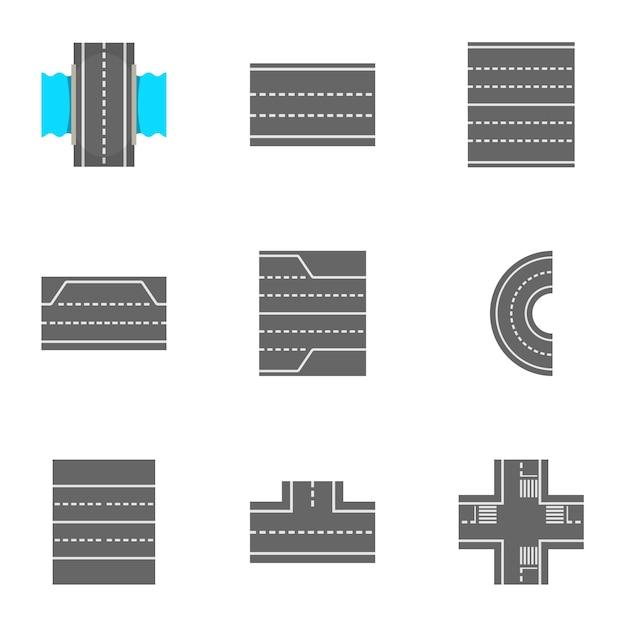Conjunto de ícones de estradas, estilo cartoon Vetor Premium