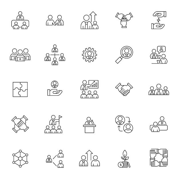 Conjunto de ícones de estratégia de trabalho em equipe com contorno simples Vetor Premium