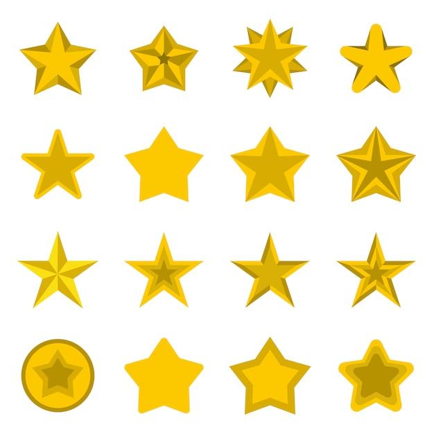 Conjunto de ícones de estrelas, plana ctyle Vetor Premium