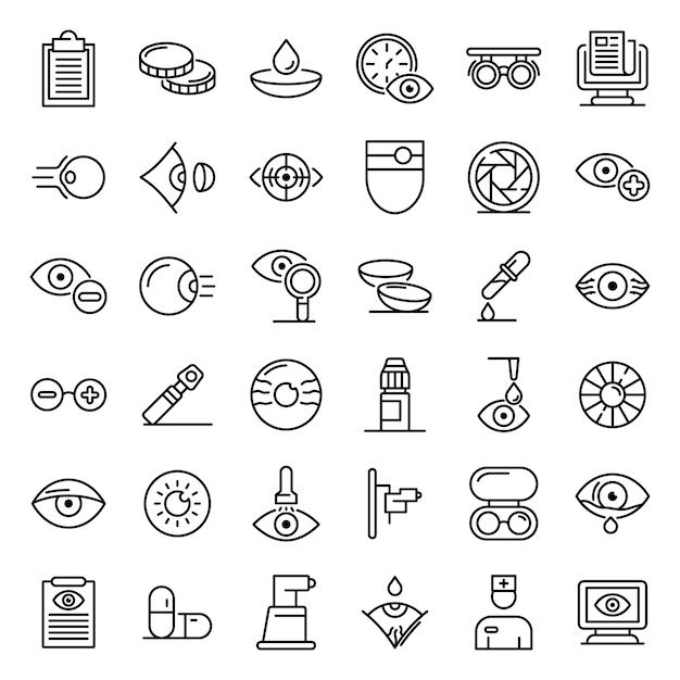 Conjunto de ícones de exame oftalmológico, estilo de estrutura de tópicos Vetor Premium