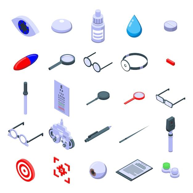 Conjunto de ícones de exame oftalmológico, estilo isométrico Vetor Premium