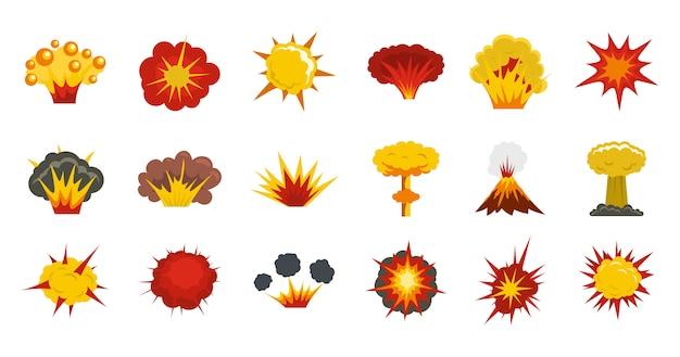 Conjunto de ícones de explosão. plano conjunto de coleção de ícones de vetor de explosão isolada Vetor Premium