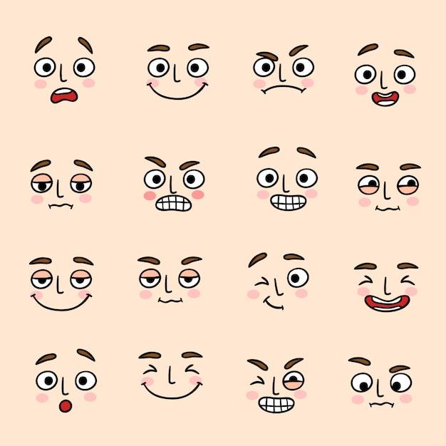 Conjunto de ícones de expressão de humor facial Vetor grátis