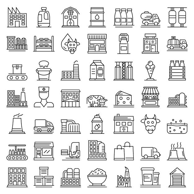 Conjunto de ícones de fábrica de leite, estilo de estrutura de tópicos Vetor Premium