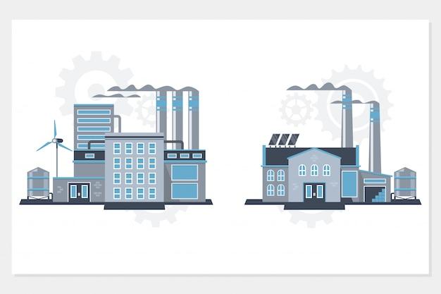 Conjunto de ícones de fábrica e usinas de construção industrial Vetor Premium
