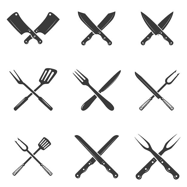 Conjunto de ícones de facas de restaurante. silhueta - cutelo e facas de chef. modelo de logotipo para negócios de carne - loja de fazendeiro, mercado ou - etiqueta, adesivo. Vetor Premium