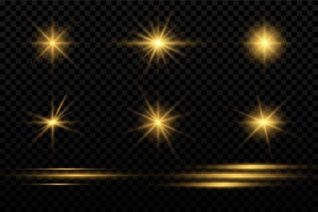 Conjunto de ícones de faíscas e estrelas, Vetor Premium
