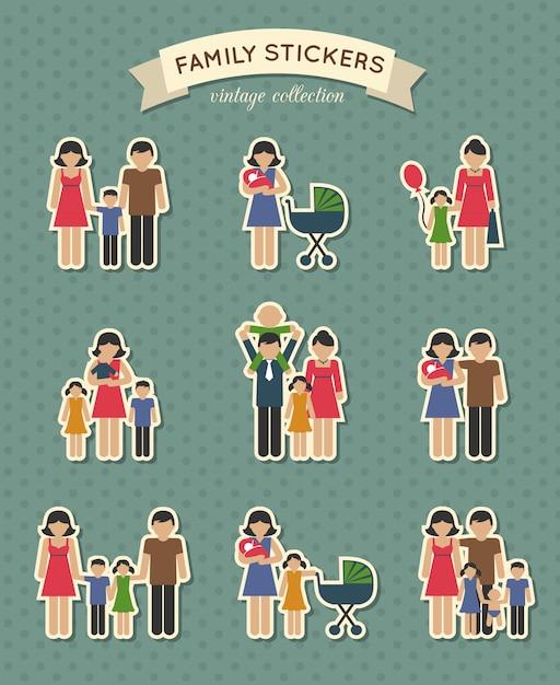 Conjunto de ícones de família de cor Vetor Premium