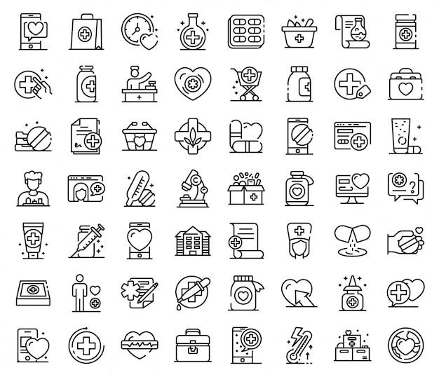 Conjunto de ícones de farmacêutico, estilo de estrutura de tópicos Vetor Premium