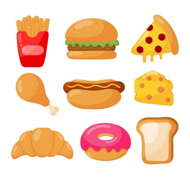 Conjunto de ícones de fast-food estilo cartoon isolado Vetor Premium