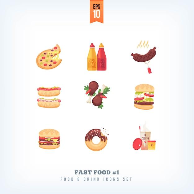 Conjunto de ícones de fast-food no fundo branco Vetor Premium