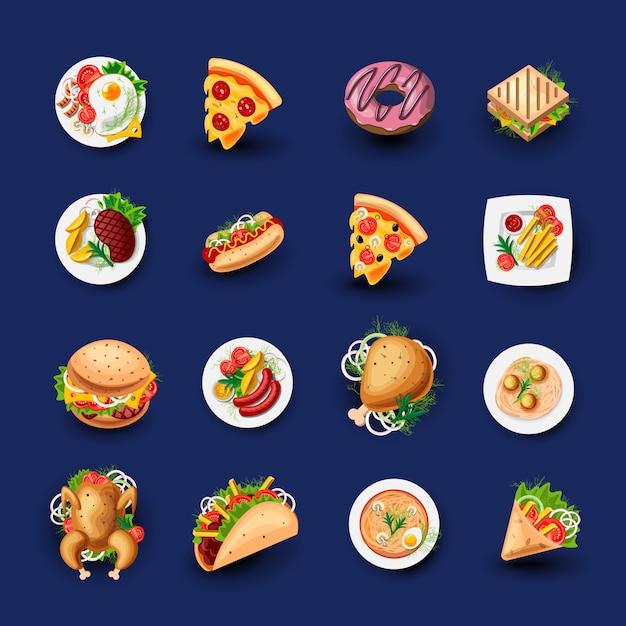 Conjunto de ícones de fast-food. Vetor Premium