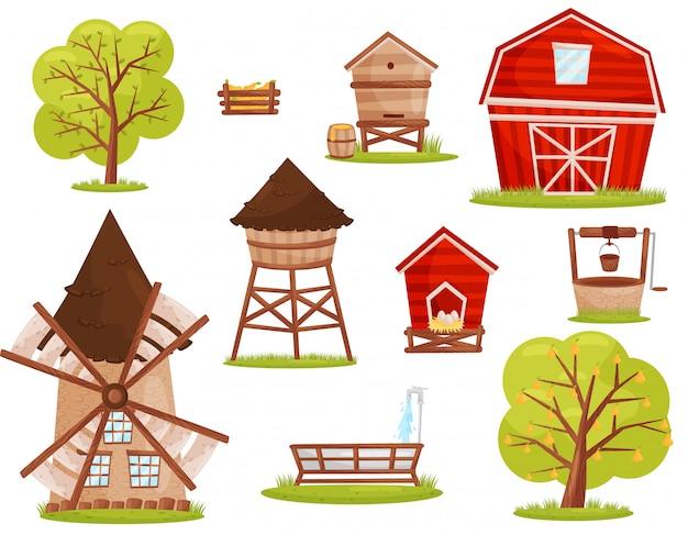 Conjunto de ícones de fazenda. edifícios, construções e árvores de fruto. elementos para jogo para celular ou livro infantil Vetor Premium