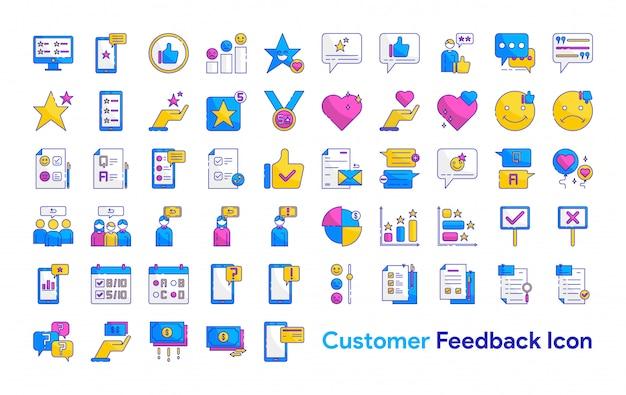 Conjunto de ícones de feedback do cliente Vetor Premium