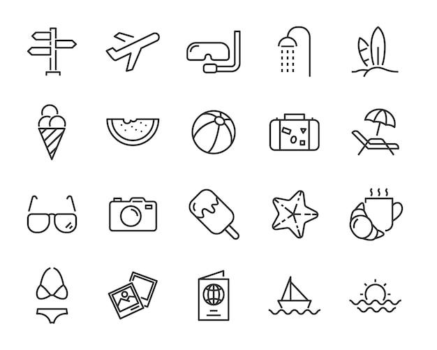 Conjunto de ícones de férias, como viagens, verão, viagem, férias, praia, temporada Vetor Premium