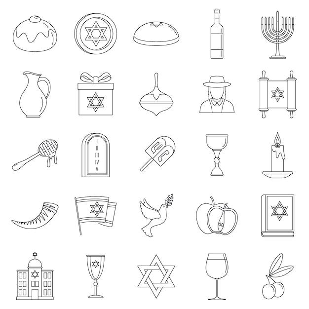 Conjunto de ícones de férias de hanukkah Vetor Premium