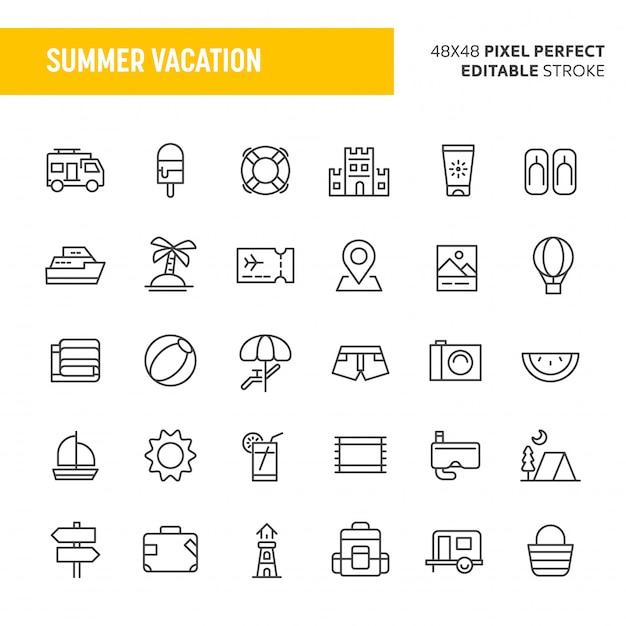 Conjunto de ícones de férias de verão Vetor Premium