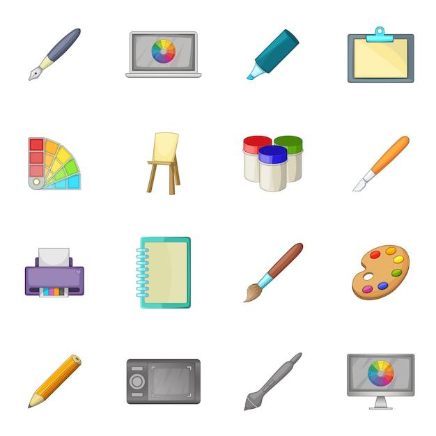 Conjunto de ícones de ferramenta de desenho e pintura Vetor Premium
