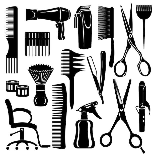 Conjunto de ícones de ferramentas de cabeleireiro. Vetor Premium