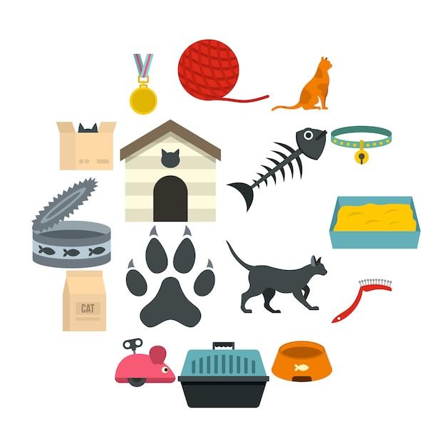 Conjunto de ícones de ferramentas de cuidados de gato em estilo simples Vetor Premium