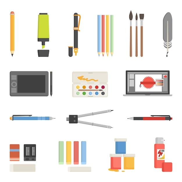 Conjunto de ícones de ferramentas de desenho plano Vetor grátis