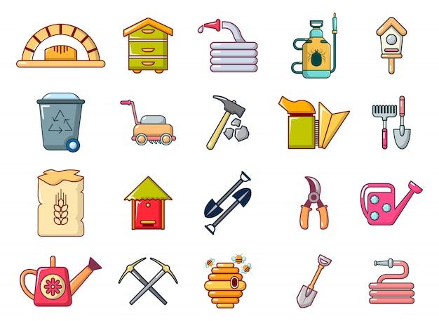 Conjunto de ícones de ferramentas de fazenda. conjunto de desenhos animados de ferramentas de fazenda vector conjunto de ícones isolado Vetor Premium