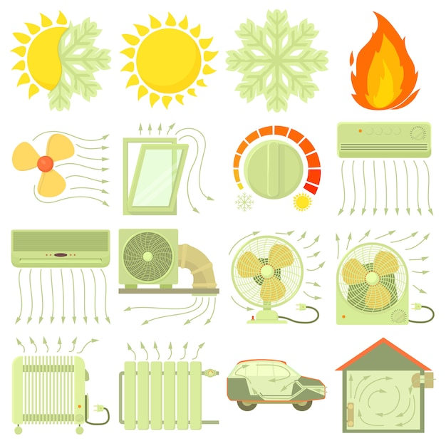 Conjunto de ícones de ferramentas de fluxo de ar fresco de calor Vetor Premium