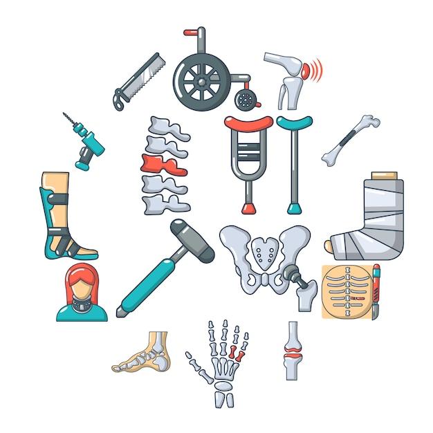 Conjunto de ícones de ferramentas de osso ortopedista, estilo cartoon Vetor Premium