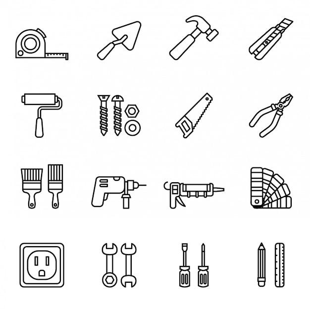 Conjunto de ícones de ferramentas de reparação e construção. Vetor Premium