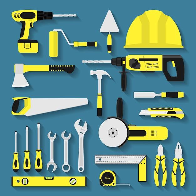 Conjunto de ícones de ferramentas de reparo e construção, ilustração de estilo Vetor Premium