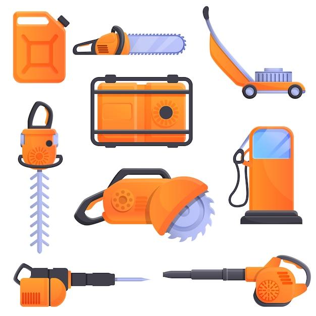 Conjunto de ícones de ferramentas gasolina, estilo cartoon Vetor Premium