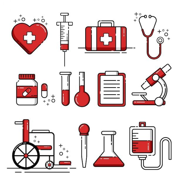 Conjunto de ícones de ferramentas médicas e elementos Vetor Premium