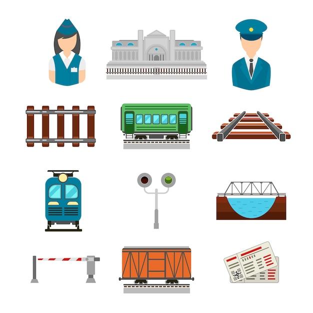 Conjunto de ícones de ferrovia em estilo simples. ponte e portão, bilhete e estação ferroviária, motorista e condutor, transporte de plataforma Vetor grátis