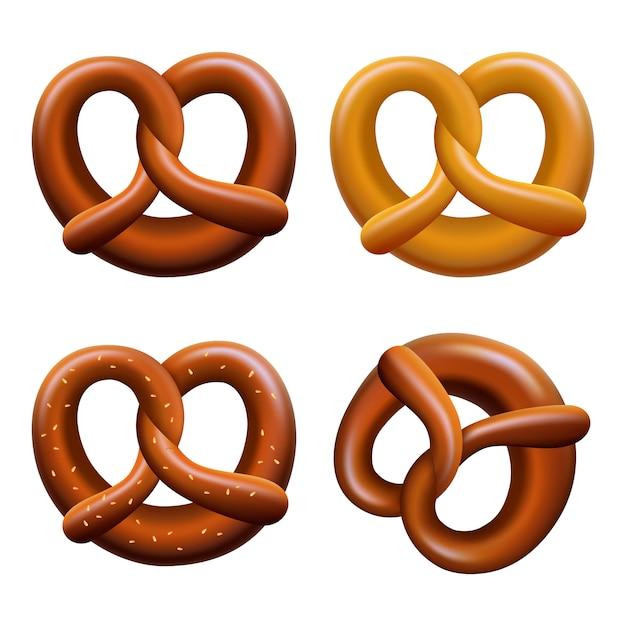 Conjunto de ícones de fest de outubro pretzel Vetor Premium
