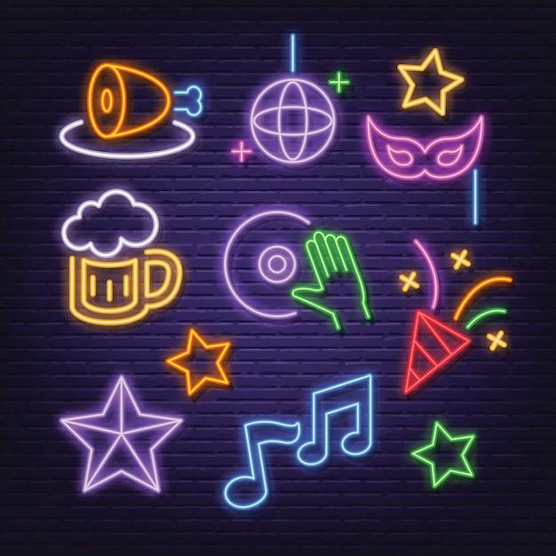 Conjunto de ícones de festa neon Vetor Premium