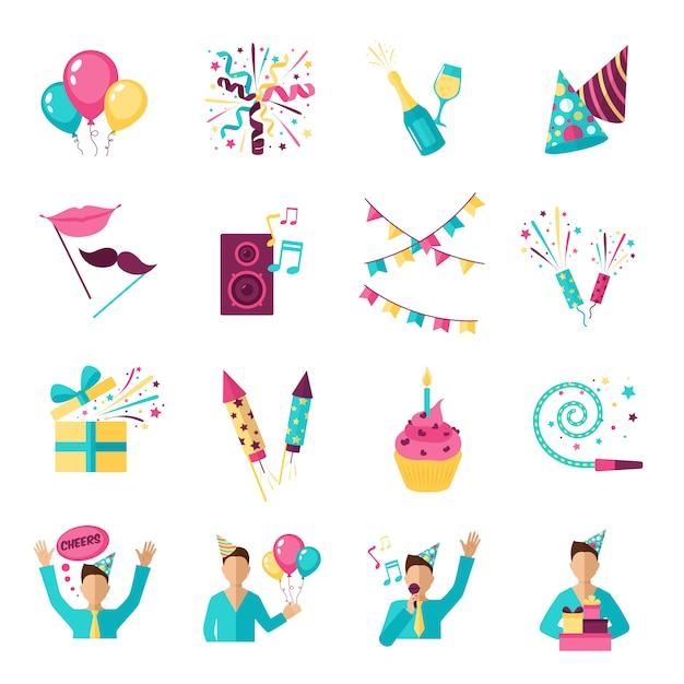 Conjunto de ícones de festa Vetor grátis